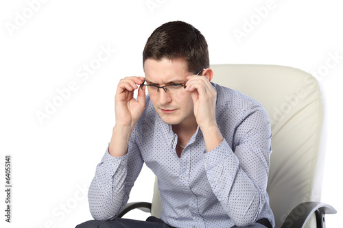 man in glasses with omneniya expression isolated on white