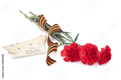 Carnations with George ribbon and old letters