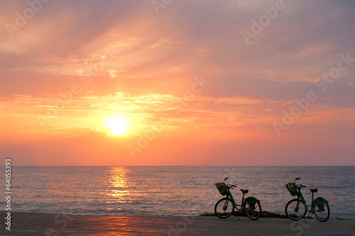 Two bicycles on Batumi beach