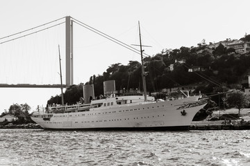 Bosporus and old white steamer
