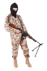 mercenary - soldier of fortune with machine gun