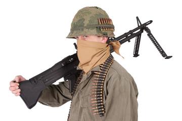 us army soldier with m60 machine gun vietnam war period