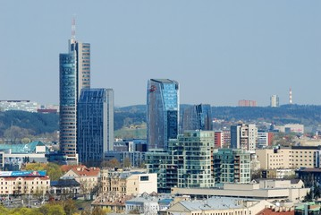 Panoramic View of Vilnius City Old Town and Modern Buildings