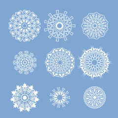 Set of snowflakes in north european style.