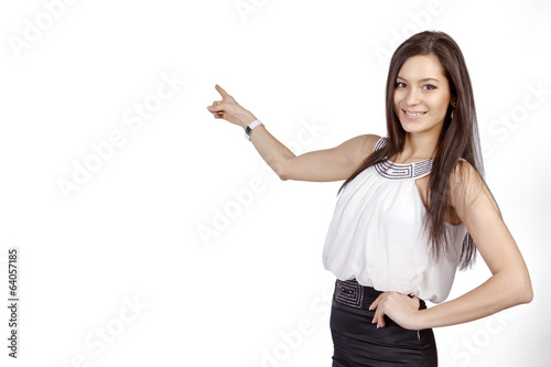 Girl pointing to the virtual object