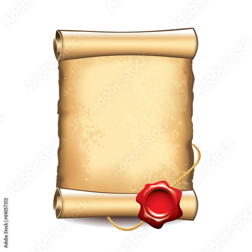 Old scroll with seal vector illustration
