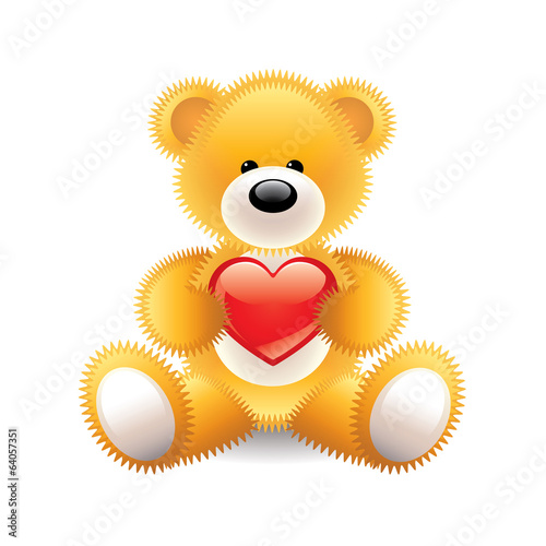 Teddy bear with heart vector illustration
