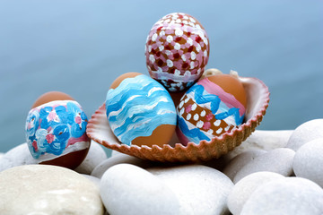 Easter Eggs in Seashell
