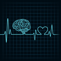 Medical technology concept, heartbeat make a brain