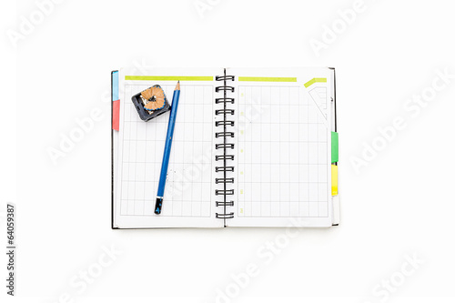 open schedule with ring binder and pencil, isolated on white