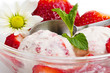 Strawberry ice cream with fruits close up