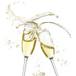 Glasses of champagne with splash, isolated on white - 64060177