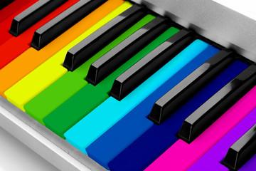 Colorful piano keyboard close-up