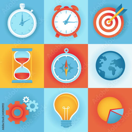 Vector flat icons - time management