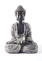 Black Buddha statue isolated on white