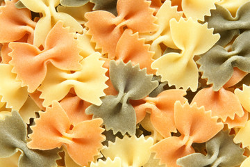 Colored Italian pasta (Farfalle)