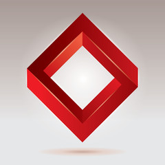 Red impossible figure, vector rhombus, abstract vector objects