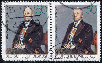 stamp printed in Germany shows Otto Heinrich Warburg