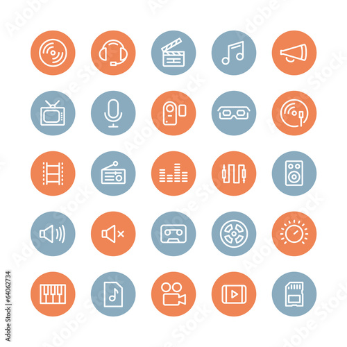 Sound and video flat icons set