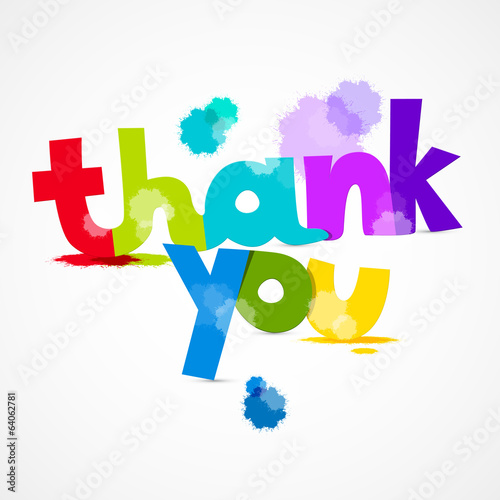 Thank You Colorful Title with Splashes Isolated
