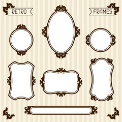 Collection of vintage frames in retro style.