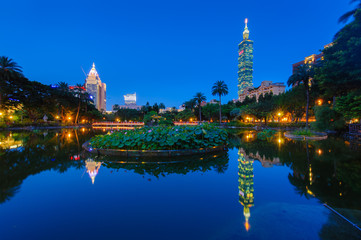 night scene of Taipei with Taipei 101