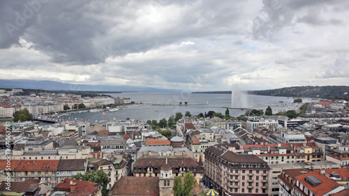 Panoramic view of city of Geneva, the Leman Lake and the Water J