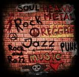 Fototapety music word on grunge brick wall background