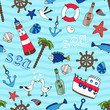 Nautical seamless pattern in retro style - 64064977