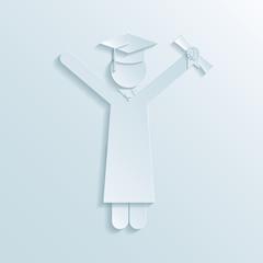 Paper icon of a graduate