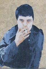 Jeune fumeur - Mur peint