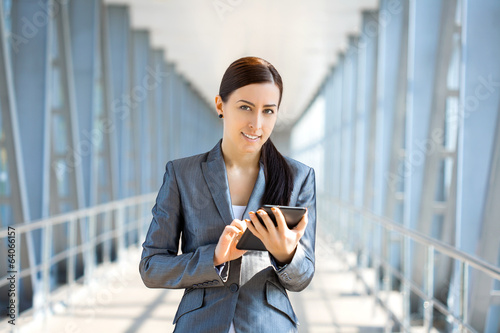 cute businesswoman on the blue modern background