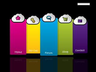 Website template with labels and cloud shaped buttons