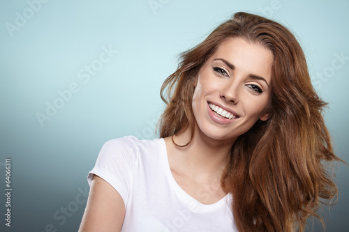 canvas print picture Photo of a fresh beautiful woman, studio shoot