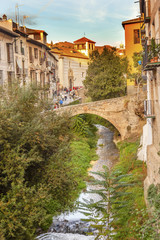 Old Bridge Walking Street River Rio Darro Albaicin Granada