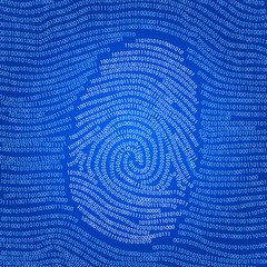 Data encoded fingerprint abstract vector background