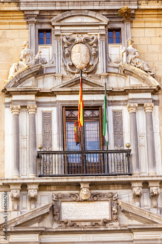 Ornate Spanish Government Building Window Crest Flags Granada