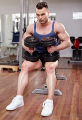 Man preparing to execute gym workout