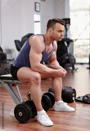 Athletic man preparing for workout