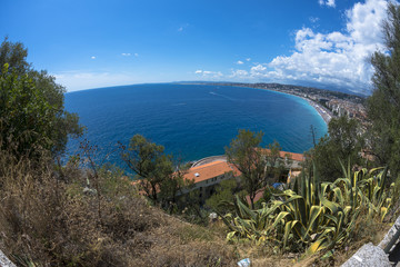 Fisheye view of coast in Nice, France