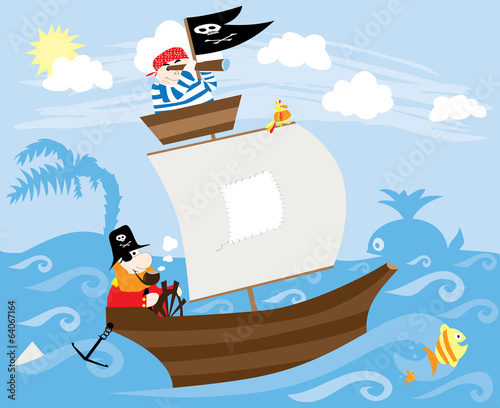 pirates ship, fish, whale, waves and sun