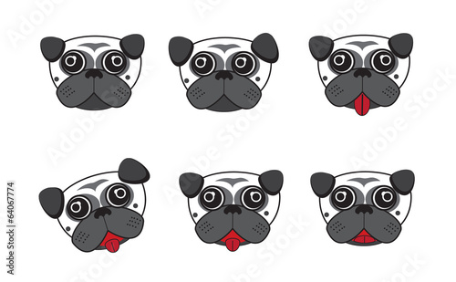 Dog heads cartoon vector