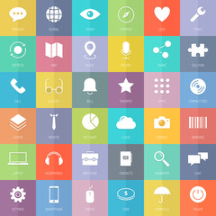 Modern business and technology flat icons set