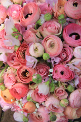 Pink roses and ranunculus bridal bouquet