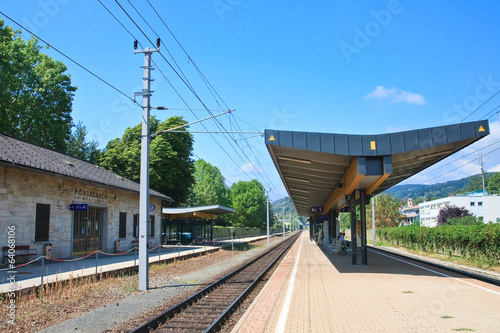 Railway platform resort Portschach am Worthersee . Austria
