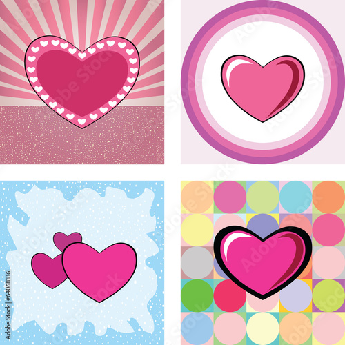 series of retro heart vector