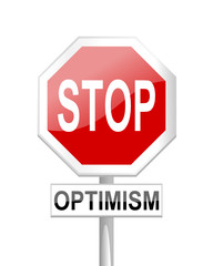 Red stop sign with optimism table - vector