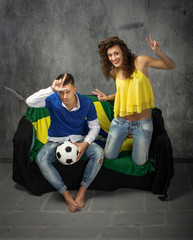 Italian versus Brazil football fans