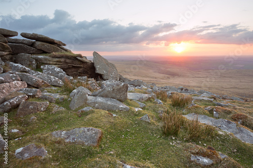 Sunset Dartmoor Devon Uk