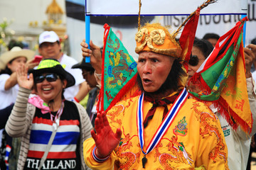 Thai protestor dressing Chinese monkey god suit